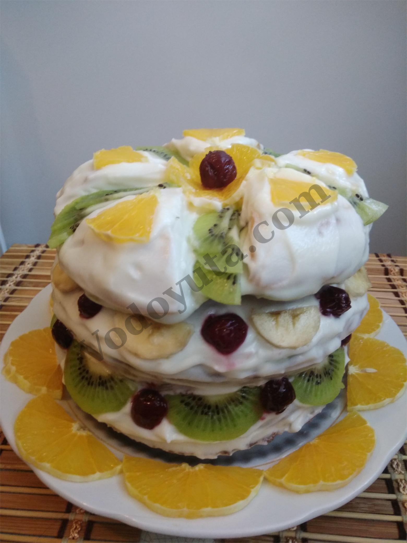 Торт со сметаной и сгущенкой «Вкусы тропиков»