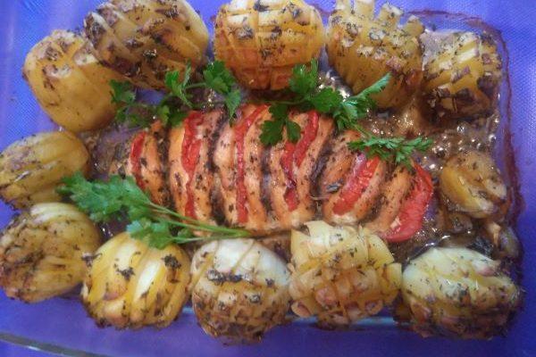 Грудка-гармошка с цветочной картошкой :)