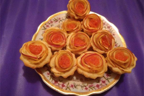 Идеи красивого печенья. Корзинки «Яблочные розы»